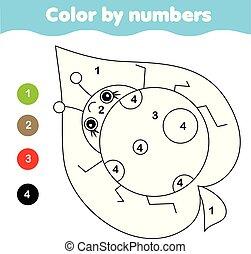 Página de color con mariquita. Color por números de actividad imprimible