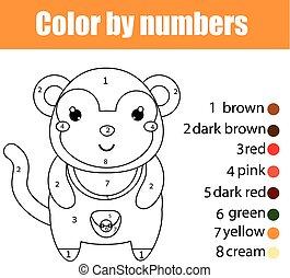Página de color con mono. Color por números juegos de niños educativos, dibujar actividades de niños