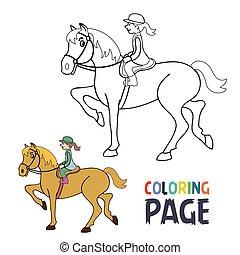 Página de color con mujeres montando dibujos de caballos