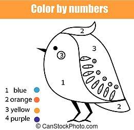 Página de color con pájaro. Color por números juegos de niños educativos, dibujar actividades de niños