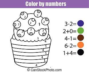 Página de color con pastelillo. Color por números juegos de niños educativos, dibujar actividades de niños. Juego de matemáticas