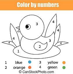 Página de color con pato. Color por números juegos de niños educativos, dibujar actividades de niños