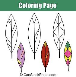 Página de color con plumas de pájaro. Juegos educativos para niños, actividades para dibujar niños