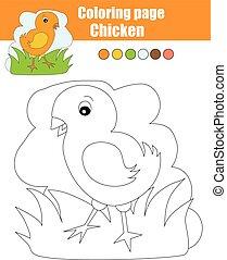 Página de color con pollo. Juego educativo, actividad de dibujar niños