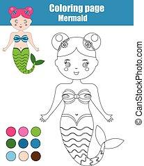 Página de color con sirena. Juego educativo para niños, antecedentes de actividad infantil