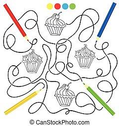 Página de color con un juego de dibujo de magdalenas para niños