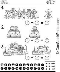 Página de color de juego matemático