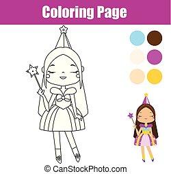 Página de color de princesa. Juego educativo. Actividad imprescindible para niños pequeños