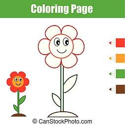 Página de color. Juego de niños educativos. Flor. Dibujando actividades imprimibles para niños.