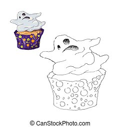 Página de color. La magdalena de Halloween. Color por números juegos de niños educativos. Dibujando actividad infantil, hoja imprimible.