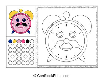 Página de color para adultos con plantilla coloreada, marco decorativo y color de reloj vector negro y blanco, despertador con bigote