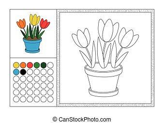 Página de color para adultos con plantilla coloreada, marco decorativo y color swatch - vector negro y blanco contorno - tres tulipanes en maceta azul