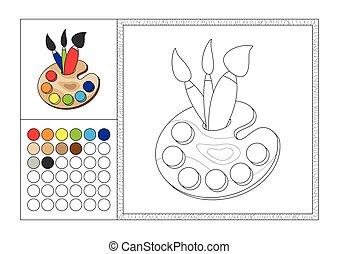 Página de color para adultos con plantilla coloreada, marco decorativo y color swatch - vector negro y blanco contorno - paleta artística con tres pinceles