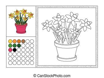 Página de color para adultos con plantilla coloreada, marco decorativo y color swatch - vector negro y blanco contorno - narcisos amarillos en maceta rosa