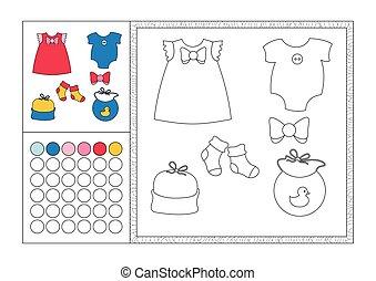 Página de color para adultos con plantilla de color, marco decorativo y color de reloj vector negro y blanco contorno - ropa de bebé