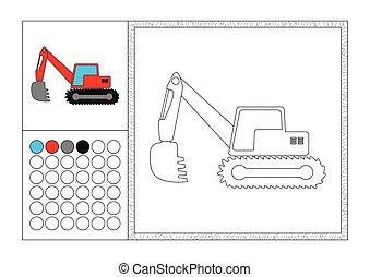 Página de color para adultos con plantilla de color, marco decorativo y color de reloj vector negro y blanco contorno - excavador rojo