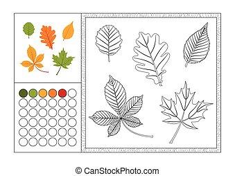 Página de color para adultos con plantilla de color, marco decorativo y color de reloj vector negro y blanco contorno - hojas de otoño