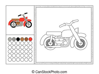 Página de color para adultos con plantilla de color, marco decorativo y color de reloj vector negro y blanco contorno - moto retro
