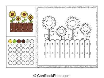 Página de color para adultos con plantilla de color, marco decorativo y color swatch - vector negro y blanco contorno - girasoles amarillos creciendo en el jardín detrás de la cerca de madera