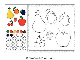 Página de color para adultos con plantilla de color, marco decorativo y color swatch - vector negro y blanco contorno - manzana, pera, fresa, cerezas, albaricoque y ciruela