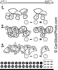 Página de coloración de actividad de matemáticas restantes