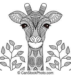 Página de coloración de jirafa