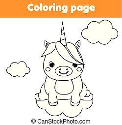 Página de coloración de unicornio. Juego de niños educativos. Dibujando actividades imprimibles para niños.