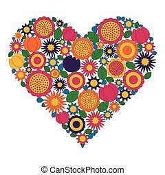 Página de coloración para adultos - vector coloreada imagen - patrón floral forma del corazón con flores de primavera