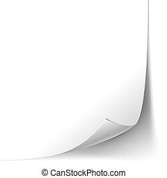Página de rizo de esquina de papel