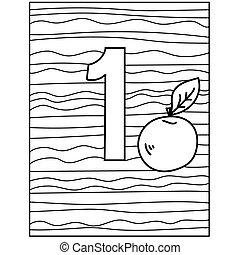 página, fruta, actividad, número, niños, resumen, uno, rayas, manzana, colorido