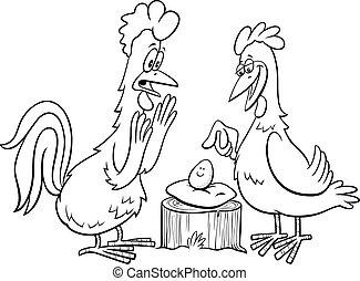 página, gallo, caricatura, gallina, huevo, libro, colorido