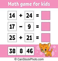 página, matemáticas, educación, character., color, children., worksheet., pictures., kids., caricatura, aislado, juego, illustration., actividad, divertido, revelado, vector, style.