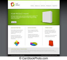página principal, vector, plantilla, moderno, producto