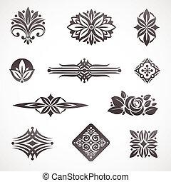 Página Vector de decoración de libros y elementos de diseño