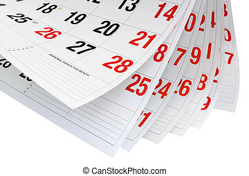 páginas, calendario