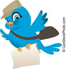 Pájaro azul con correo