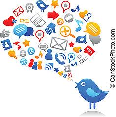 Pájaro azul con iconos de las redes sociales