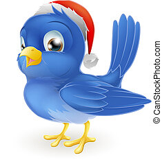 Pájaro azul en sombrero de Santa Claus