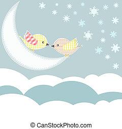 Pájaro con amor beso en las nubes del cielo