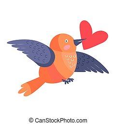 Pájaro con corazón en pico volando aislado en blanco