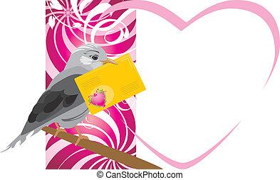 Pájaro con sobre festivo
