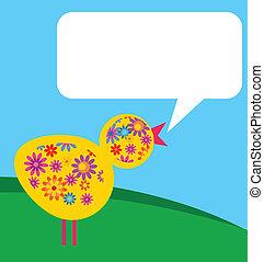 Pájaro con textura de flores en un prado