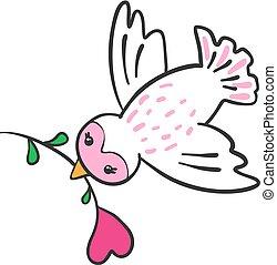 Pájaro dibujado a mano con flor en forma de corazón.