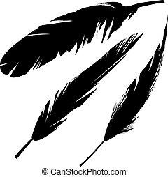 pájaro, grunge, silueta, plumas