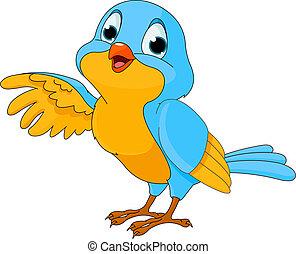 pájaro, lindo, caricatura