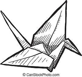 pájaro, origami, bosquejo