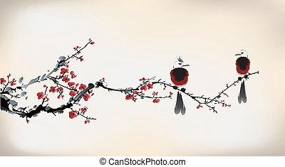 pájaro, pintura