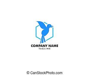 pájaro, resumen, vector, plantilla, diseño, logotipo