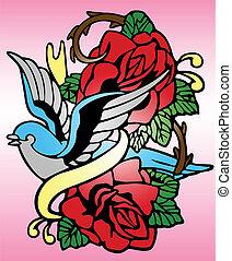 Pájaro rosado tatuaje tribal
