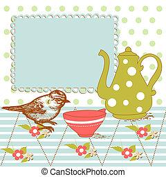Pájaro y té en la cocina